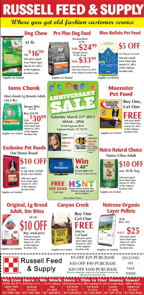 pet food coupons russell feed supply