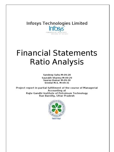 Scribd Project Report Mba by Financial Ratio Analysis Infosys Project Report Equity