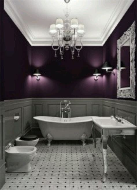 purple and gray bathroom decor