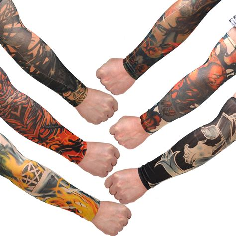 cool fake tattoos 6x temporary slip on stretch seamless arm