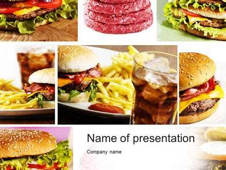 Fast Food Set Presentation Template For Powerpoint And Keynote Ppt Star Fast Food Ppt Slides