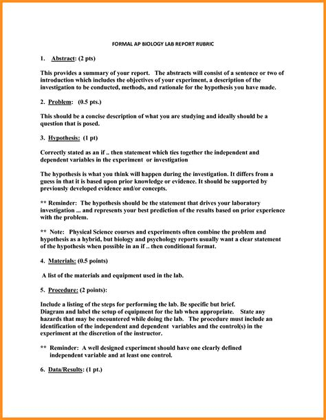 Biology Lab Report Template Writing An Abstract For A Biology Lab Report
