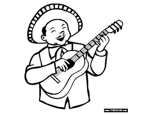 mariachi guitar coloring page cinco de mayo coloring pages that are free to print