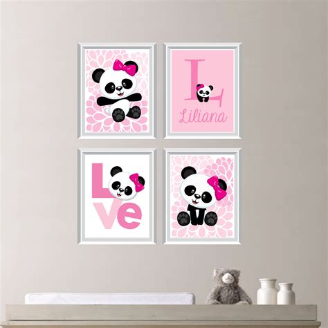 Panda Nursery Decor Baby Girl Nursery Art Print Panda Bear Nursery Prints