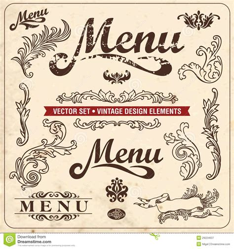 design menu vintage vintage design elements menu royalty free stock