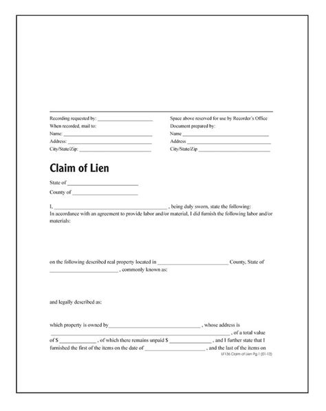 claim of lien forms and instructions