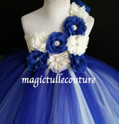 Dress Tutu White Blue Flower 4 6 Th Include Headbandgelangcincin ivory and royal blue flower tutu dress wedding dress tulle dress birthday dress tea