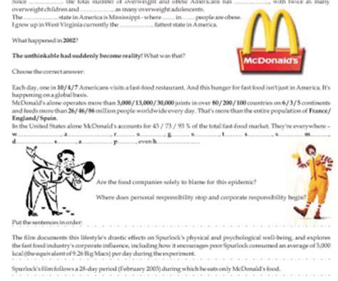 Supersize Me Worksheet by Worksheet Size Me