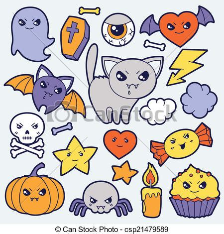 imágenes de halloween kawaii vecteur de kawaii mignon ensemble halloween doodles