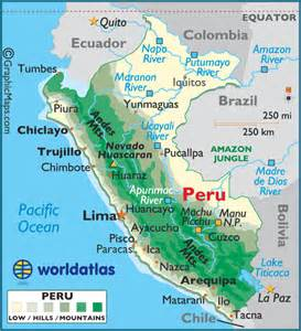 peru map south america peru large color map