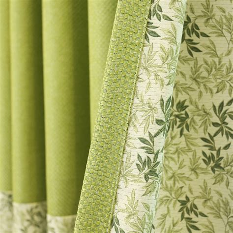 Curtains Botanical Print Lime Green Botanical Print Color Block Linen Country Curtains