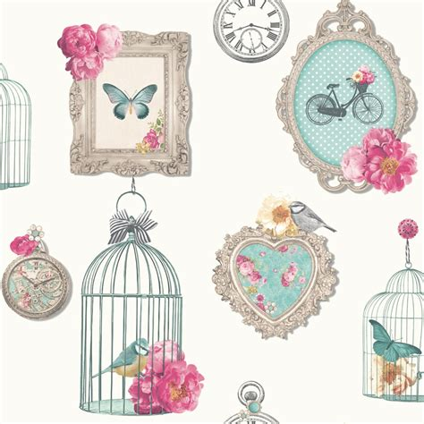 arthouse madeline frames shabby chic wallpaper bird cage vintage white heather ebay