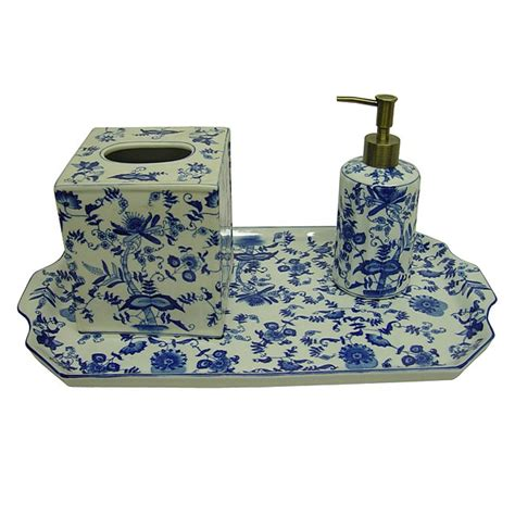 blue and white porcelain bathroom accessories blue white floral porcelain bath accessory 3 piece set