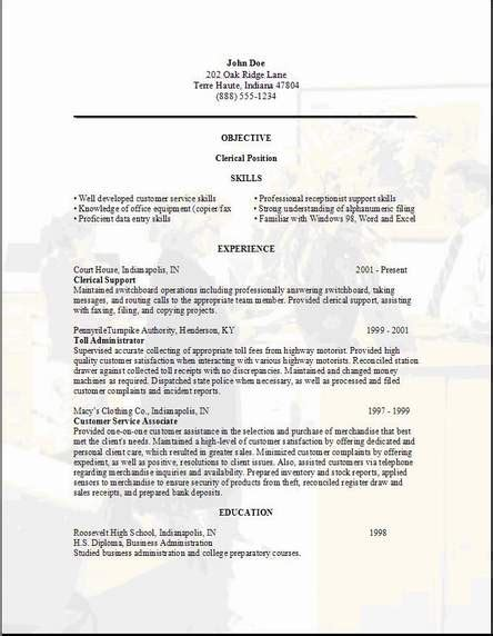 exles of clerical resumes clerical resume exles sles free edit with word