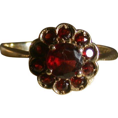 period garnet flower ring size 8 classic ck antiques ruby