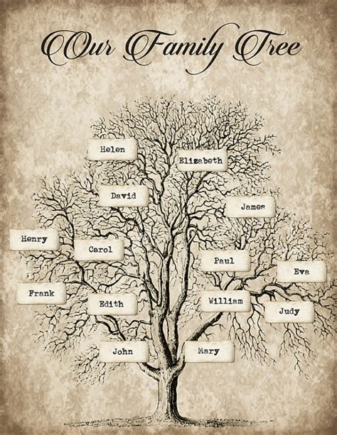 diy printable family tree paper craft custom diy family tree instant download