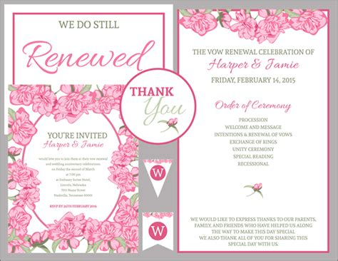 Free Vow Renewal Invitation Suite Pink Roses Vow Renewal Invitations Templates