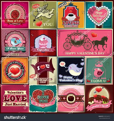 poster design kit vintage valentine poster design set stock vector
