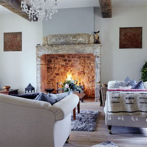 Country Living Room With Fireplace And Dark Grey Sectional Sofa » Home Design 2017