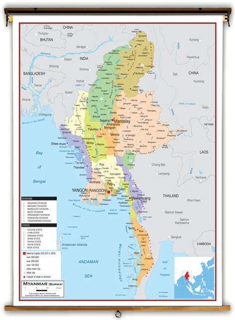 political map of myanmar myanmar burma political educational wall map from