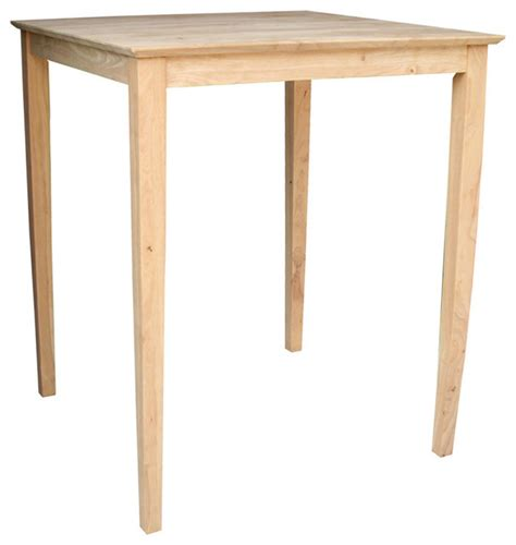 Unfinished Bistro Table Unfinished Bar Height Square Shaker Style Parawood Dining Table Contemporary Indoor Pub And