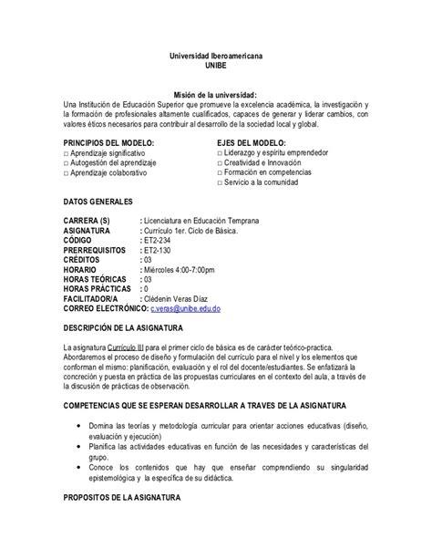 Modelo Curriculum Dominicano silabo curriculo