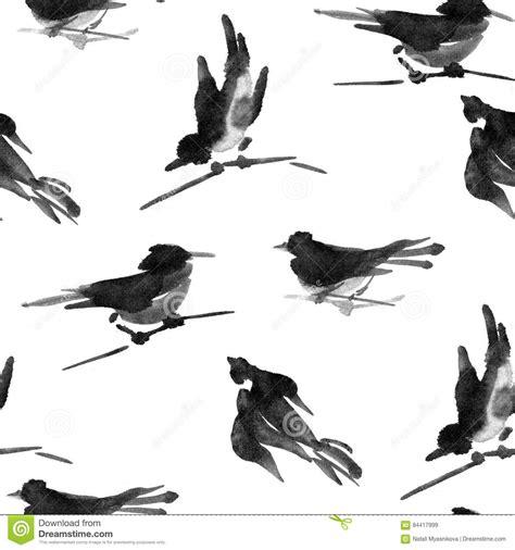 watercolor ink pattern watercolor ink sumi e bird seamless pattern stock