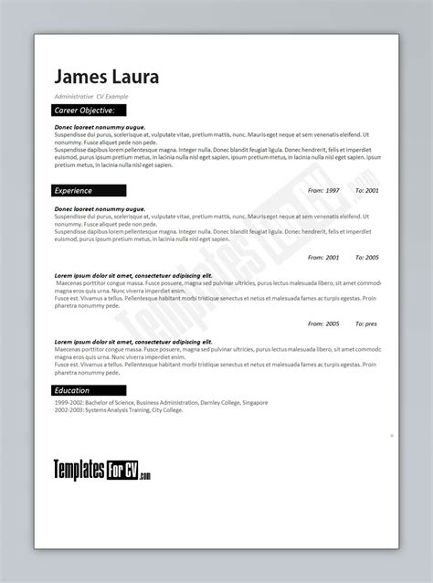 templates for resume word administrator cv template cv template administrator
