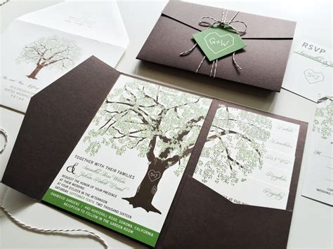Oak Tree Wedding Invitations by Sle Oak Tree Wedding Invitation Rustic Wedding Invitation