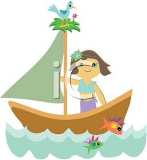 cartoon girl on boat a gril sailing in a sailboat with fish and birds royalty