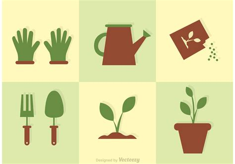 Gardening Vector Garden Icons Vector Set Free Vector Stock