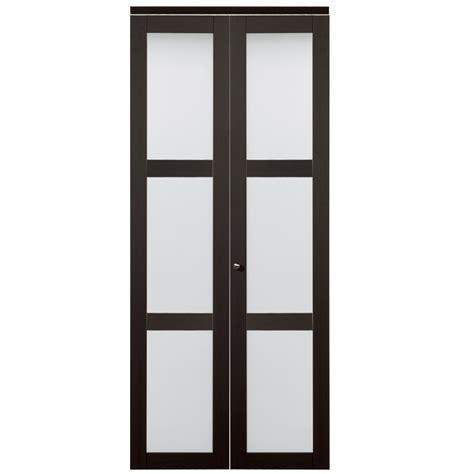 36 closet door shop reliabilt 36 in x 80 in espresso 3 lite tempered frosted glass interior bifold closet door