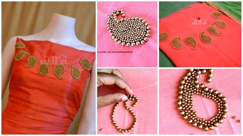 boat neck hand embroidery designs hand embroidery mango beads boat neck for kurtis