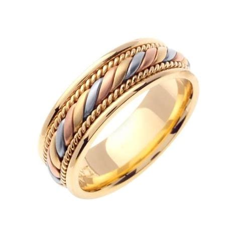 14k gold 7mm handmade tri color wedding ring 093 almani