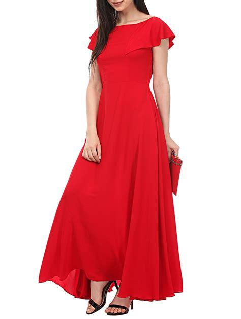 buy  ruffled boat neck gown dress  western wear