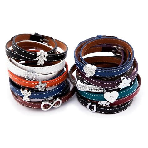 leather wrap bracelet with charms leather wrap around charm bracelet by lovethelinks notonthehighstreet