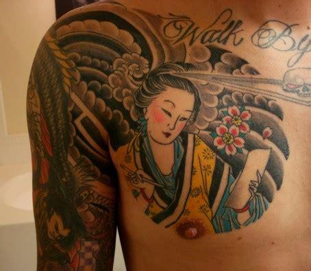 geisha tattoo on chest japanese flowers and geisha tattoo on chest