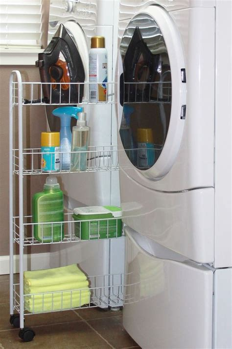 Shelf Between Washer And Dryer by Slim Shelf On Rollers A Genius Idea For Laundry Storage