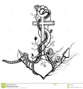 romantic old anchor with roses black ink stock photo
