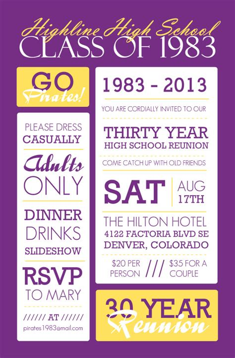High School Reunion Wording Ideas And Tips Class Reunion Invitation Template