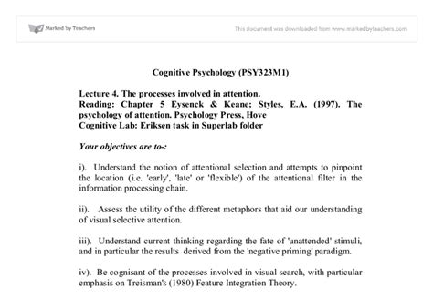 Cognitive Psychology Essay by Cognitive Psychology The Processes Involved In Attention Biological Sciences