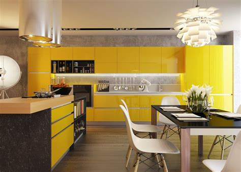 yellow kitchen kitchens with contrast