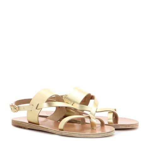 ancient sandals ancient sandals alethea leather sandals in metallic