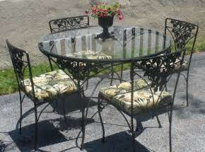 Glass Patio Table And Chairs Wrought Iron Table 4 Chairs Cushions By Moonstruckcottage