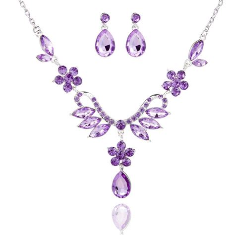 Purple Set by Alloy Lavender Purple Jewelry Set With Necklace
