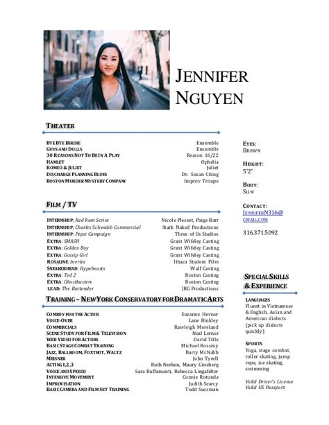 3 Column Acting Resume Template by Free Sle Acting Resume Excel Homework