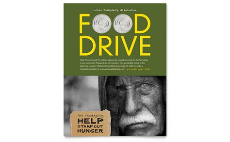 Drive Brochure Template by Food Drive Fundraiser Flyer Template Word