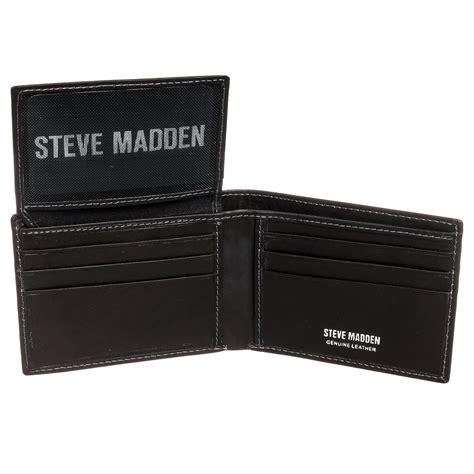 steve madden mens genuine leather antique passcase billfold bifold wallet