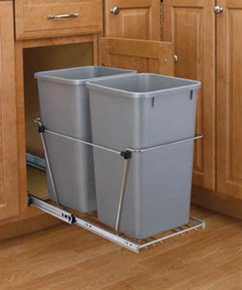 double 35 qt top mount wood pull out trash containers rev 35 qt silver double bin trash can pull out rev a shelf