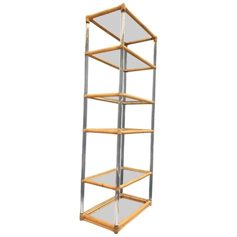 etagere 125 cm lucite and rattan shelf or 200 tager 232 for sale at 1stdibs